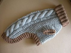 Articoli simili a Made to Order - Dog Sweater - Cable Knit - Silver Blue and Taupe su Etsy Pet Sweaters, Small Dog Sweaters, Small Dog Clothes, Pet Clothes, Knitted Dog Sweater Pattern, Knit Dog Sweater, Italian Greyhound Clothes, Dog Jumpers, Dog Dresses