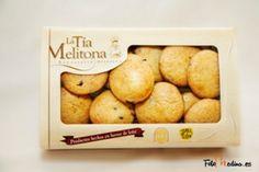 Pastas de Naranja y Chocolate La Tía Melitona. Envase de 350 Gr.  Ingredientes: Harina de trigo, Mantequilla, Azúcar, Huevos, Naranja (5%), Chocolate (5%) e Impulsor. Caja de 12 unidades.