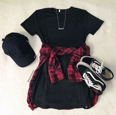 Flatlay photography is the best. I love this plaid shirt outfit. It is the perfect black dress outfit. It has vans, plaid shirt, black dress, and a black cap. The perfect chill vans outfit. Plaid Shirt Outfits, Black Dress Outfits, Cute Casual Outfits, Cute Summer Outfits, Spring Outfits, Fashionable Outfits, Dress Black, Plaid Shirt Outfit Summer, Casual Summer