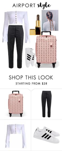 """Off to La La Land"" by urban86 ❤ liked on Polyvore featuring MCM, Moschino, adidas and airportstyle"