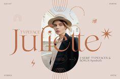 Juliette — Poetic / Chic / Modern / Symbols Typography Logo, Graphic Design Typography, Graphic Design Art, Branding Design, Lettering, Creative Market Fonts, Display Font, Web Design, Poster Layout