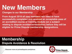 Reminder | An opportunity to gain Prime Dispute membership before the changes take place in August 2018 | Gain your membership designation in dispute avoidance/resolution prior to this date | https://www.primedispute.com/membership-designations.html #Legal #Membership #Sector #EY #Industry #APD #MPD #FPD #Arbitration #Mediation #Adjudication #DisputeBoards #EarlyNeutralEvaluation #Conflict #Resolution #Share #linkedin