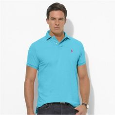 Polo Ralph Lauren Men Stickup Custom-Fit Mesh Light Blue Red http://