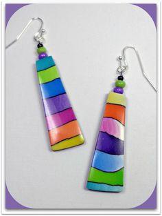Watercolor Rainbow Long Earrings- handmade jewelry- Polymer Clay Earrings