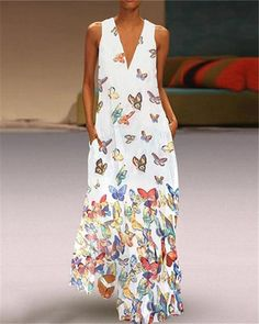Butterfly Printed Maxi Dresses V Neck White Women Dresses Shift Daily - Sommer Kleider Ideen Evening Dresses Plus Size, Plus Size Dresses, Vestidos Vintage, Vintage Dresses, Casual Dresses, Summer Dresses, Maxi Dresses, Floral Dresses, Sleeveless Dresses