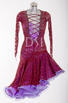 Amethyst and Burgundy Latin Dress  As worn by Sunetra Sarker on Strictly Come Dancing 2014. Designed by Vicky Gill and produced by DSI London