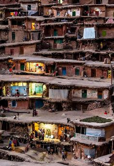 Masuleh, Iran (streets are built on top of the roofs) |