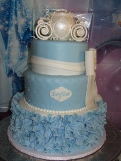 """Cinderella Cake for my daughter's 3rd birthday. Used a 8"""", 10"""", & 12"""" Round Cake Pan. Gumpaste Carriage airbrushed i..."""