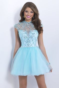 2014 High Neck A Line Prom Dress Short/Mini With Open Oval Back And Cap Sleeve