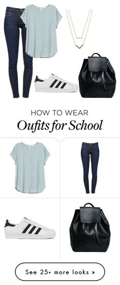 "Pinterest|| MiaDiBiase119  ""school day"" by fashionlover4562 on Polyvore featuring Frame Denim, H&M, adidas, Michael Kors, women's clothing, women, female, woman, misses and juniors"