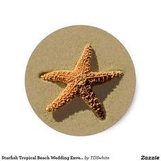 Starfish Tropical Beach Wedding Envelope Seal Round Sticker