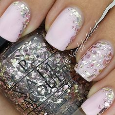 Light pink with silver chunky glitter accent