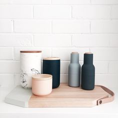 Kitchenware in store #mintinteriordesign #onlinestore #menugrinders #canisters #navy #grey #peach