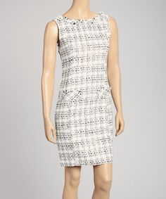 Take a look at this Miss Finch White Boucle Sheath Dress on zulily today!