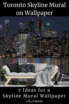 This Toronto skyline mural captures the vibrant and lively city with its skyscrapers reflected in glistening Lake Ontario. The photo mural adds a modern glam look and matches most interior decor. Printed on removable wallpaper, it's perfect for a city themed living room or bedroom. Click to see all 7 cityscape murals perfect for wallpaper diy. Skyline wall murals for adults or teens. Cityscape Wallpaper, Diy Wallpaper, Night Skyline, Toronto Skyline, Photo Mural, Skyscrapers, Room Themes, Wall Murals, Ontario