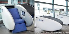 debut of airport terminal futuristic sleeping pods