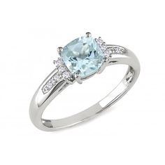 4/5 Carat Aquamarine and Diamond White Gold Ring