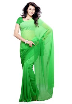 Shaded Parrot Green Faux Chiffon Saree with Blouse
