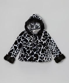 Look at this #zulilyfind! Black & White Faux Fur Hooded Jacket - Infant, Toddler & Girls by Bella's Boutique #zulilyfinds