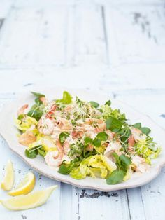This simple summer dish is a little bit retro but it's a real crowd-pleaser. I'm roasting the salmon so it's still lovely and pink inside, then breaking it up into big chunks and drizzling over the Marie Rose. Delicious!