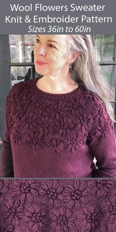 """Sweater Knitting Pattern Wool Blossoms Sweater - Pullover sweater knit in stockinette with embroidered flowers on the yoke. Knit top-down with a relaxed fit. Worsted weight yarn. Sizes 36 (38, 40, 42, 44, 46, 48) (50, 52, 54, 56, 58, 60)"""". Designed by ulia Farwell-Clay"""