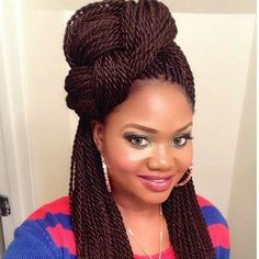 Senegalese Twists Braided Top Knot Half Updo