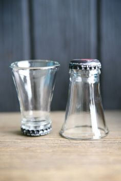 Shot glasses from bottle tops - now this is a cool use for those glass cutting DIYs I've pinned!