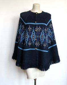 SOLD / #Vintage 1970s Boho / Folk Navy Blue & Purple Knit Cape by VelouriaVintage, $36.00