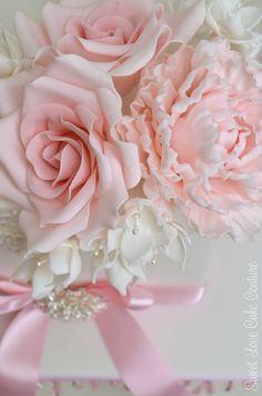 Sugar peony, roses and freesias