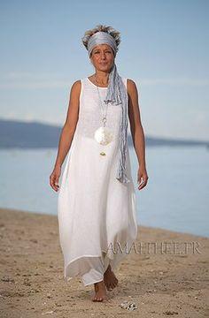 Tunique femme en voile de lin blanc cassé et sarouel jupe assorti