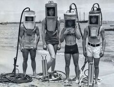 1940s | scuba divers | black and white | vintage | quirky | bathers through the ages | seaside | the deep blue sea