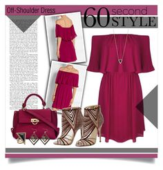 """""""60 Second Style: Off-Shoulder Dress"""" by laurenjane47 ❤ liked on Polyvore featuring Alice + Olivia, Jimmy Choo, Salvatore Ferragamo, Michael Kors, House of Harlow 1960 and 60secondstyle"""