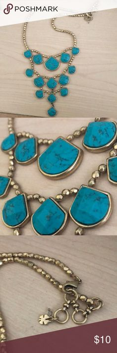Turquoise statement necklace Beautiful gold and turquoise necklace! Tagged for exposure Urban Outfitters Jewelry Necklaces