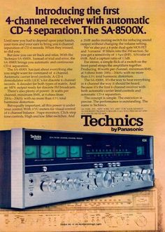 """Vintage audio ad for Technics quad. I had almost forgotten that there were three main methods of quad reproduction - """"discrete"""" (of which CD-4 was one), """"matrix"""" (which had problems with decoding that led to poor left-right separation) and """"derived"""", which was really just smoke and mirrors based upon out-of-phase frequencies."""