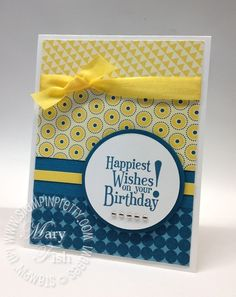 handmade card ... luv the bright and happy color combo of yellow and true ble ... like this sentiment as the focal point ... Stampin' Up!