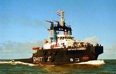 SMITWIJS TEMPEST Bouwjaar 1977, imonummer 7515377, grt 1199 Eigenaar Smitwijs Tempest C.V., IJmuiden Gebouwd Van der Giessen-De Noord, Al... Tug Boats, Sail Boats, Oil Rig, Deep Sea, Statue Of Liberty, Sailing, History, Ships, Sleep
