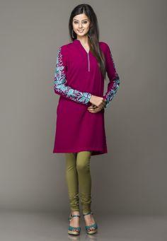 Purple Faux Crepe Readymade Short Kurta Online Shopping: TCD114