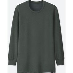 UNIQLO Men's Heattech Ultra Warm Long-sleeve Crewneck T-Shirt ($25) ❤ liked on Polyvore featuring men's fashion, men's clothing, men's shirts, men's t-shirts, dark gray, uniqlo men's t shirts, mens stretch t shirts, men's fitted t shirts, mens crew neck t shirts and mens crew neck shirts