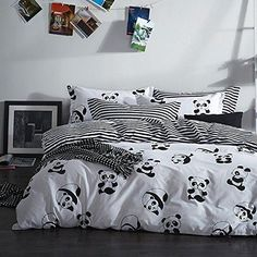 Add some fun and cheer to your room with these jungle themed animal planet panda print bedding sets. Add a touch of fresh, elegant style to your bedroom with the Eco-friendly animal planet panda bedding sets. White Duvet Bedding, Striped Bedding, Luxury Bedding, Comforter Sets, King Comforter, Cute Duvet Covers, Duvet Cover Sets, Bedroom Themes, Bedroom Decor