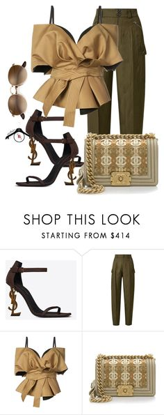"""""""Brown Brown"""" by spivey-adrian ❤ liked on Polyvore featuring Yves Saint Laurent, Tom Ford, Acler and Chanel"""