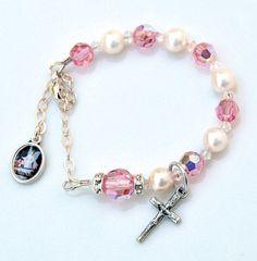 Baptism Rosary Bracelet for Baby Girls Swarovksi Crystal Pearls Pink Cream Guardian Angel Sterling Handstamped Initial Available Adjustable