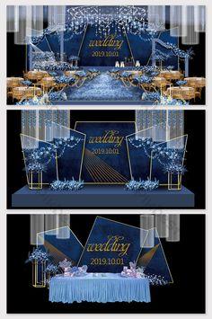 Modern minimalist blue dream wedding renderingspikbestDecors & ModelsWedding DecorEuropean is part of Wedding reception backdrop - Wedding Backdrop Design, Wedding Stage Design, Wedding Hall Decorations, Wedding Reception Backdrop, Backdrop Decorations, Wedding Designs, Backdrops, Photowall Ideas, Starry Night Wedding
