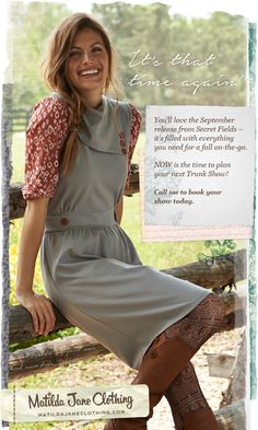 Sneak peek for Secret Fields Release 2.  Contact suzieg@matildajaneclothing.com to set up a trunk show for the September release!