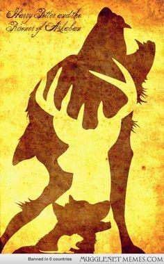 Image Harry Potter et le prisonnier d'Azkaban : la carte du maraudeur avec Lunard (RG Lupin ) ; Cornedrue (James Potter) ; Patmol ( Sirius Black ) et Quedever ( Peter Pettigrow )