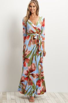 """The """"Charlie"""" Floral Wrap Maxi Dress - Dusty Blue"""