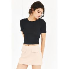 Silence + Noise Kylie Cropped Top (27 CAD) ❤ liked on Polyvore featuring tops, black, short sleeve crop top, black crop top, black short top, silence + noise and black short sleeve top