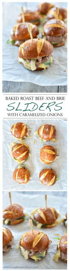 Baked Roast Beef and Brie Sliders with Caramelized Onions   www.cookingandbeer.com   @jalanesulia