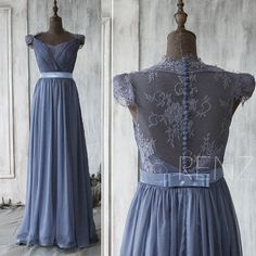 2016 Steel Blue Bridesmaid dress , Cap Sleeve Lace Wedding dress, Backless Party dress, Formal dress, Elegant dress floor length (F120B)
