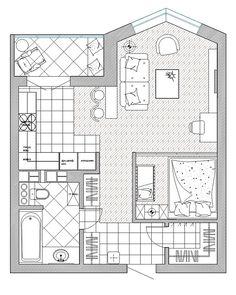 Дизайн-проект квартиры по ул. Беды, Минск. Просторная однушка для молодой семьи