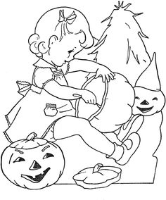 Vintage Coloring Book images to embroider.  A link on this page to get boy images, too.